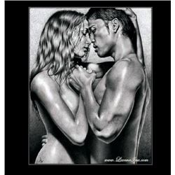 "Fine Russian Artist ""The Kiss"" - Original Pencil Drawing By Lianne Issa"