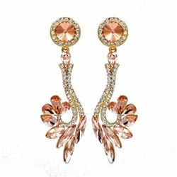 18k Gold Plated Gp Peach Crystal Rhinestone Wedding Drop Dangle Earrings