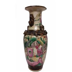 Antique Chinese Porcelain Crackled Glaze Warrior Vase