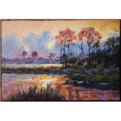 Fabulous Plein Aire Oil on Board original painting of South Carolina Marshes. Signed