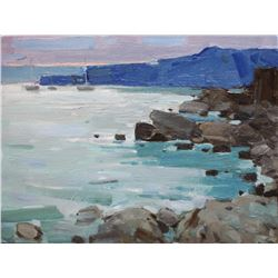 Original Oil Painting Plein Air Evening Seascape Rocky Shore By Anna Gusarova