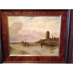 Signed Dutch Coastal Seascape, Oil Painting