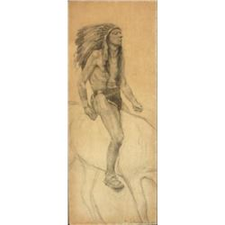 Signed Pencil Sketch, Indian on Horseback