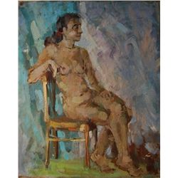 Russian portrait of a nude girl by famed Russian Artist.
