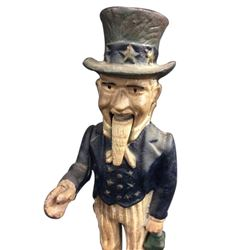 Reproduction Cast Iron Uncle Sam coin bank