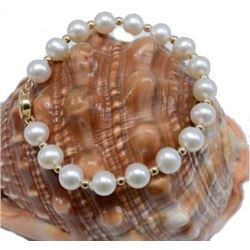 "7.5""-8"" Natural 8-9mm South Sea White Pearl Bracelet 14k Gold Clasp"