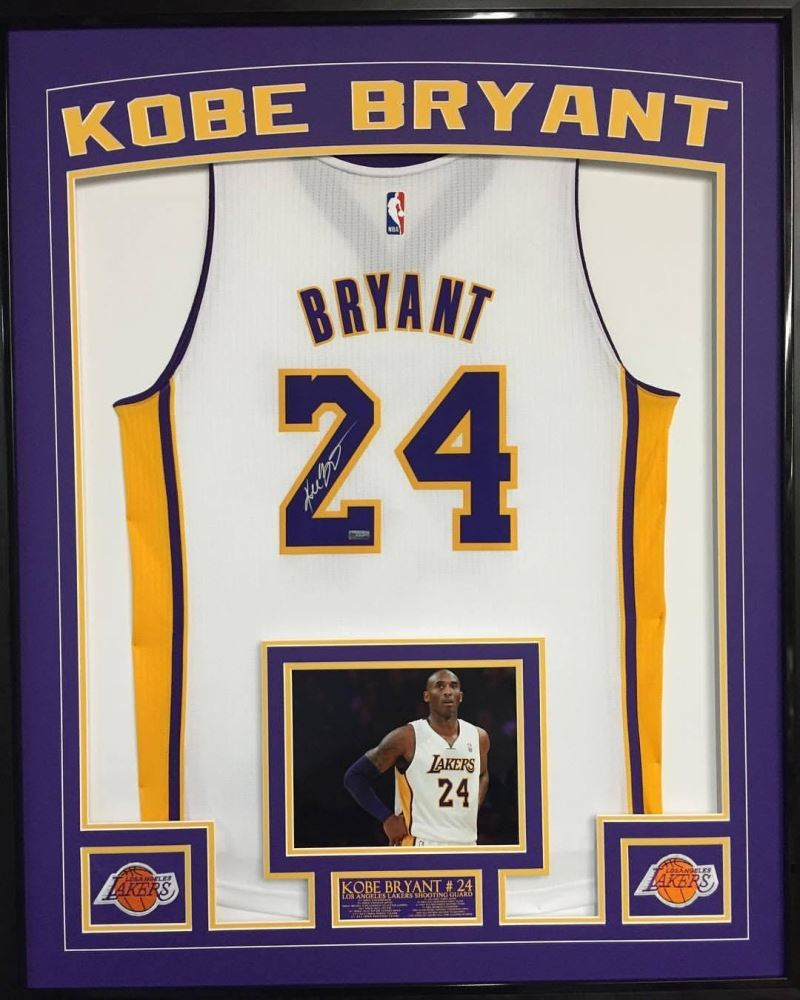 Kobe Bryant Signed Lakers 36x42 Custom Framed Away Jersey Display ...