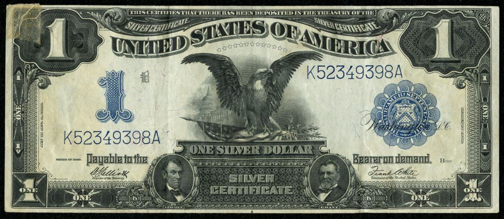 1899 1 One Dollar Us Silver Certificate Large Eagle Blue Seal