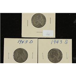 1943-P/D/S 35% SILVER JEFFERSON WAR NICKELS