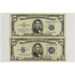 1934-C & 1953 $5 SILVER CERTIFICATES BLUE SEALS