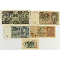 5 ASSORTED GERMAN BILLS 1914-1 MARK, 1942-5 MARK,