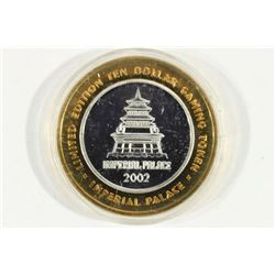 CASINO $10 SILVER TOKEN (UNC) 2002 IMPERIAL PALACE