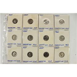 12 ASSORTED 1968-1982 PROOF ROOSEVELT DIMES