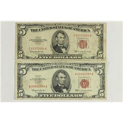 1953-C & 1963 $5 US NOTES RED SEALS