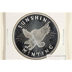 1 TROY OZ .999 FINE SILVER PROOF ROUND SUNSHINE