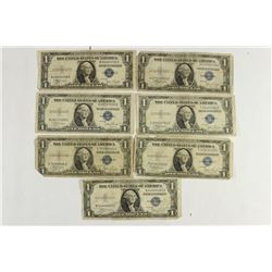 7 ASSORTED 1935 $1 SILVER CERTIFICATES