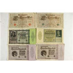 6 ASSORTED LARGE SIZE GERMAN NOTES