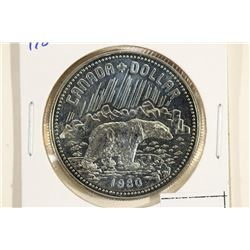 1980 CANADA POLAR BEAR SILVER DOLLAR (PF LIKE)