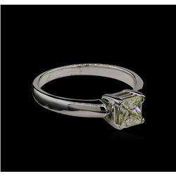 0.70 ctw Light Yellow Diamond Solitaire Ring - 14KT White Gold