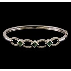 1.09 ctw Diamond Bangle Bracelet - 14KT White Gold