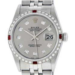 Gents Rolex Stainless Steel Slate Grey Diamond and Ruby DateJust Wristwatch