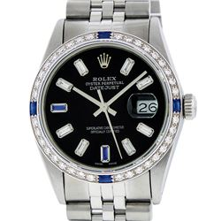 Rolex Mens SS Black Baguette Diamond And Sapphire Datejust Wristwatch