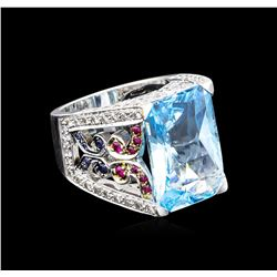 20.00 ctw Multi Gemstone and Diamond Ring - 14KT White Gold