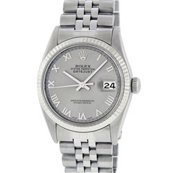 Rolex Mens Stainless Steel Slate Grey Roman Fluted Bezel Datejust Wristwatch