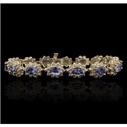 14KT Yellow Gold 9.90 ctw Tanzanite and Diamond Bracelet