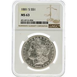 1881-S NGC MS63 Morgan Silver Dollar