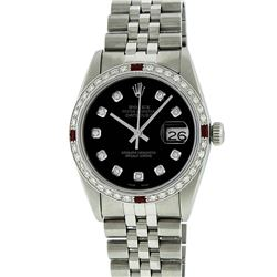 Rolex Mens Stainless Steel 1.20 Ctw Black Diamond And Ruby Datejust Wristwatch