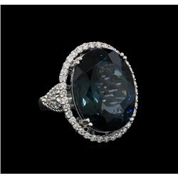 14KT White Gold 20.61 ctw Topaz and Diamond Ring