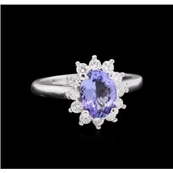 1.58 ctw Tanzanite and Diamond Ring - 14KT White Gold