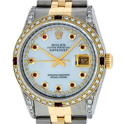Rolex Mens Two Tone Diamond Lugs Mother Of Pearl Ruby and Diamond Datejust Wrist