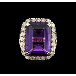 14KT Yellow Gold 14.20 ctw Amethyst and Diamond Ring