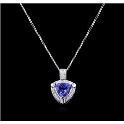 3.02 Tanzanite and Diamond Pendant - 14KT White Gold