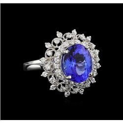 4.01 ctw Tanzanite and Diamond Ring - Platinum