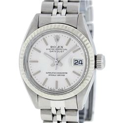 Rolex Ladies Quickset SS Silver Index Fluted Bezel Jubilee Band Datejust Wristwa