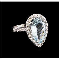 5.58 ctw Aquamarine and Diamond Ring - 14KT White Gold