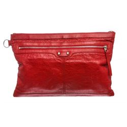 Balenciaga Red Arena Leather Classic Clip Large Clutch Handbag