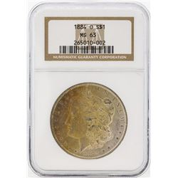 1884-O $1 Morgan Silver Dollar Coin NGC MS63 Great Toning