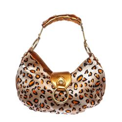 Cesare Paciotti Orange Metallic Leather Leopard Print Small Shoulder Handbag