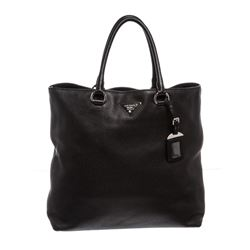 Prada Nero Black Leather Vitello Daino North-South Tote Bag