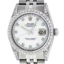 Rolex Mens Stainless Steel Mother Of Pearl VVS Diamond Datejust Wristwatch