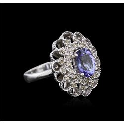14KT White Gold 2.12 ctw Tanzanite and Diamond Ring