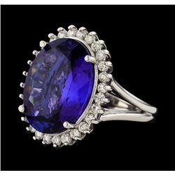 14.35 ctw Tanzanite and Diamond Ring - 14KT White Gold