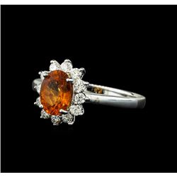 1.60 ctw Mandarin Spessartite and Diamond Ring - 14KT White Gold
