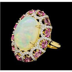 13.98 ctw Opal, Pink Sapphire and Diamond Ring - 14KT Yellow Gold