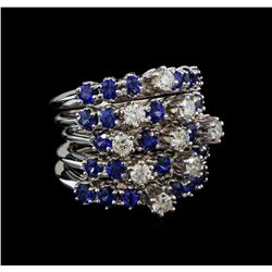 14KT White Gold 5.72 ctw Sapphire and Diamond Ring