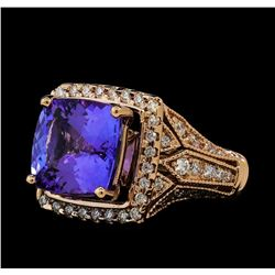 5.91 ctw Tanzanite and Diamond Ring - 14KT Rose Gold